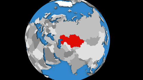 Zooming in on Kazakhstan on political globe Animation