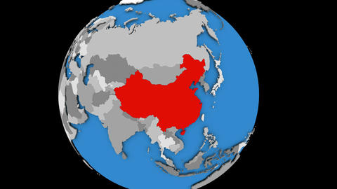 Zooming in on China on political globe Animation