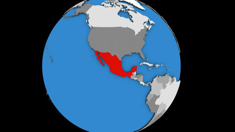 Zooming in on Mexico on political globe Animation