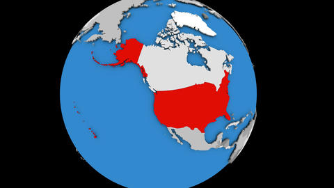 Zooming in on USA on political globe Animation