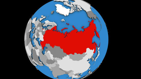 Zooming in on Russia on political globe Animation