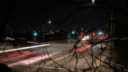 Time lapse of Traffic at night time lapse. City at night with car head lights Footage