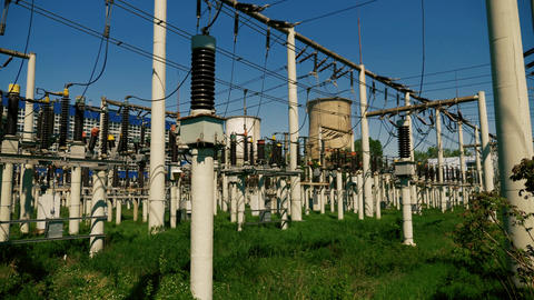 Electricity power plant with power convertors Stock Video Footage