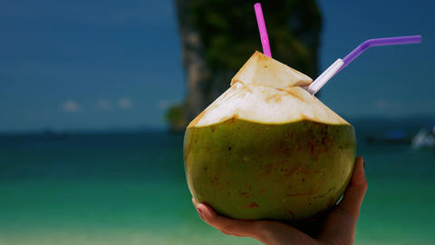 Fresh coconut cocktail Footage