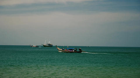 Thailand traditional long tail boat Live Action