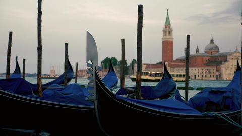 Venice gondolas moving with the sea waves ビデオ
