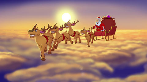 Christmas Сard Flying Santa Claus Animation