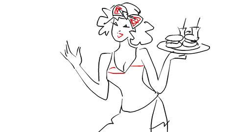 ハンバーガーを売る娘 CG動画