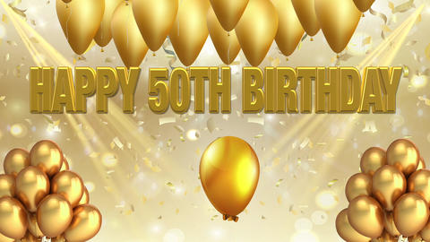 50th birthday golden background title with balloons Animation