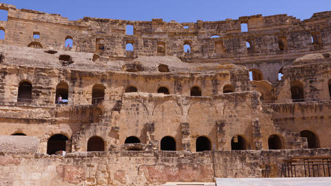 Ancient unfinished amphitheater Gordian in El Jem city, Tunisia view inside GIF