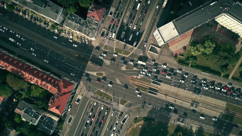 Aerial top down view hyperlapse of busy city streets intersection Footage