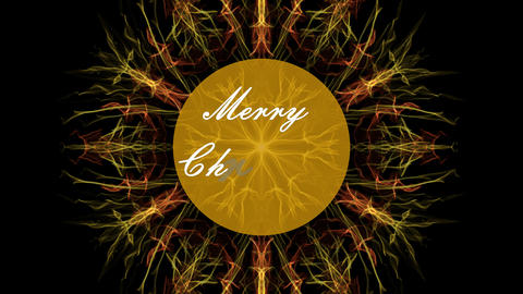 Fractal christmas motif in yellow and orange design on black bakcground, yellow Animation
