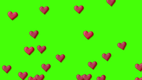 Red heart background, on a green screen Animation