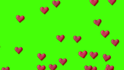 Red heart background, on a green screen, Stock Animation