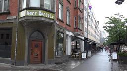 Denmark Scandinavia city of Aarhus house corner and footpath at the Å GIF