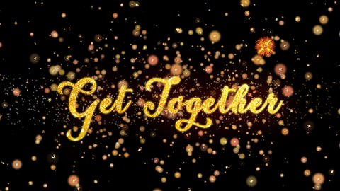 Get Together Abstract particles and glitter fireworks greeting card Animation