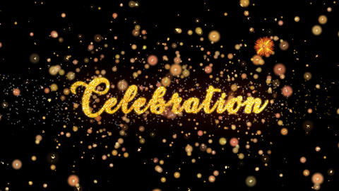 Celebration Abstract particles and glitter fireworks greeting card Animation