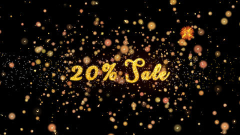 20% Sale Abstract particles and glitter fireworks greeting card Animation