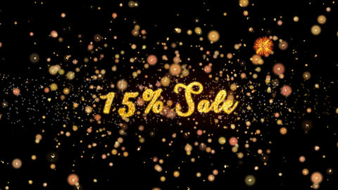 15% Sale Abstract particles and glitter fireworks greeting card Animation