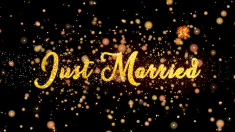 Just Married Abstract particles and glitter fireworks greeting card Animation