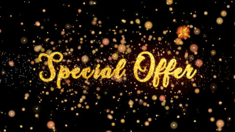 Special Offer Abstract particles and glitter fireworks greeting card Animation