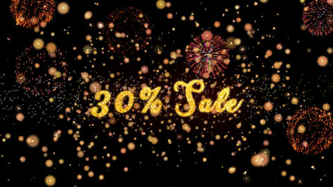 30 Sale Abstract particles and glitter fireworks greeting card Animation