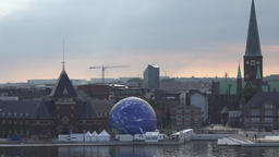Denmark Scandinavia Aarhus cityscape with earth globe from conservationists 영상물