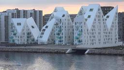 Denmark Scandinavia Aarhus white Isbjerget housing estate in evening light Footage
