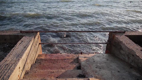 Staircase leaving the sea, embankment Footage
