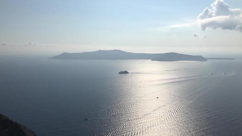 A Ship Near Santorini Island Stock Video Footage