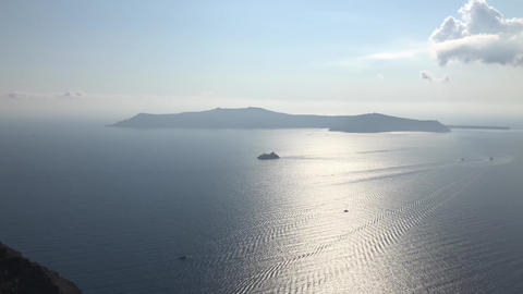 A Ship Near Santorini Island Footage