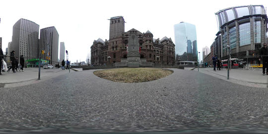 VR 360 Toronto Old Historical building surrounded by contemporary skyscraper 360 Footage