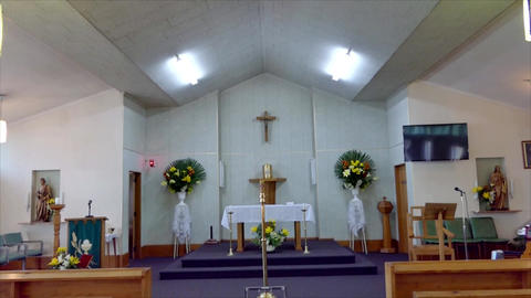 shot of religious chapel or funeral home for funeral service Live Action