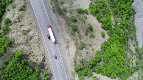 Aerial View of Truck Footage
