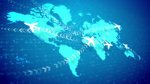 Animation airplanes cruising over the world map Animation