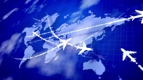 Abstract airplanes cruising over the world atlas Animation