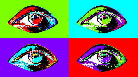 Animation of four colorful human eyes Animation
