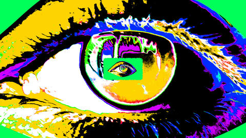 Animation of a psychedelic tunnel in human eyes Animation