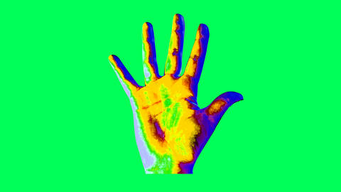 Animation of human hand in bright colors Animation