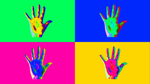 Animation of four human hands in vivid colors Animation
