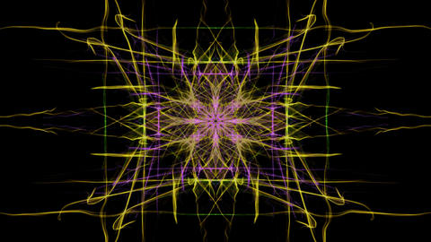 Square composed fractal live, multicolored curves on black background, vivid CG動画素材