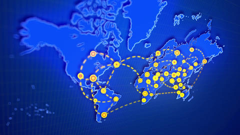 Global Map Connecting Yellow Cities Stock Video Footage