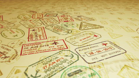 Travel stamps with flying visas Animation