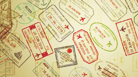 Travel stamps with aircraft pictures Animation