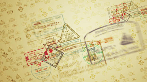 Flying Multifigured Travel Stamps Animation