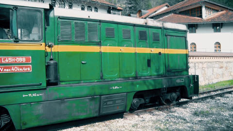 Old Diesel Locomotive Standing at a Station Footage