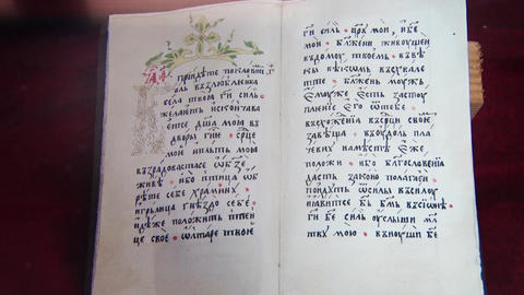 Old Orthodox book, from middle cenrtury Footage
