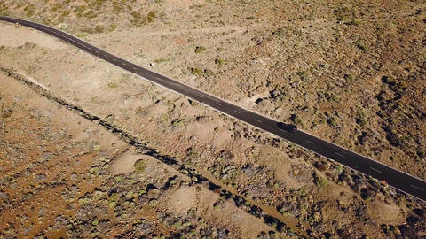 Top view of the road with cars in the Teide National Park. Tenerife, Canary ビデオ