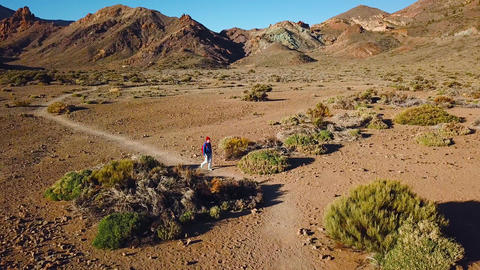 Aerial view of active hiker woman hiking on Teide National Park. Caucasian young 영상물