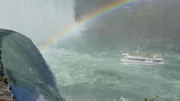 4K Niagara Falls Tour Boat and Rainbow Footage